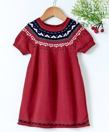 Babyhug Half Sleeves Winter Wear Frock With Design On the Neck - Red