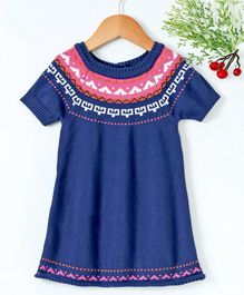 Babyhug Half Sleeves Winter Wear Frock With Design On the Neck - Navy Blue