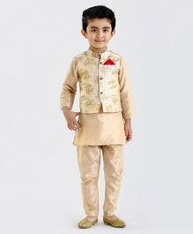 Babyoye Solid Color Kurta & Pajama With Woven Jacket - Beige