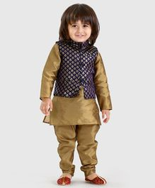 Babyoye Solid Colour Kurta & Pajama With Printed Jacket - Navy Golden