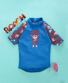 Speedo Half Raglan Sleeves Sun Top Pirate Print - Blue