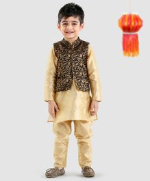Babyoye Solid Colour Kurta & Pajama With Printed Jacket - Beige