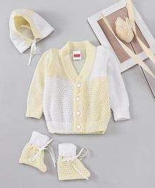Babyhug Full Sleeves Sweater And Cap With Booties - Yellow White