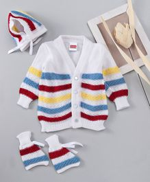 Babyhug Full Sleeves Cardigan And Cap With Booties - White Red Blue