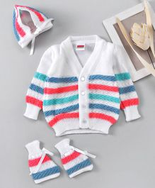 Babyhug Full Sleeves Cardigan And Cap With Booties - White Red Green