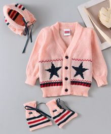 Babyhug Full Sleeves Cardigan With Booties & Cap Star Design - Peach