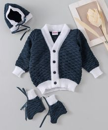 Babyhug Full Sleeves Textured Cardigan With Booties & Cap - Navy