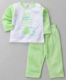 Pink Rabbit Full Sleeves Night Suit Quote & Bear Print - Green