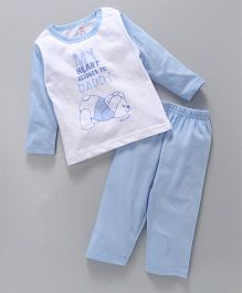 Pink Rabbit Full Sleeves Night Suit Quote & Bear Print - Sky Blue