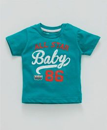 Pink Rabbit Half Sleeves T-Shirt All Star Baby Print - Sea Green