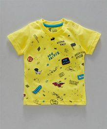Pink Rabbit Half Sleeves Printed T-Shirt - Yellow