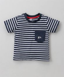Pink Rabbit Half Sleeves Stripe T-Shirt - Navy Blue White