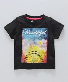 Pink Rabbit Half Sleeves T-Shirt Wonderful Dream Print - Black