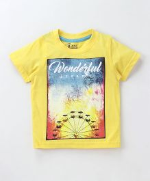 Pink Rabbit Half Sleeves T-Shirt Wonderful Dream Print - Yellow