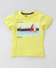 Pink Rabbit Half Sleeves T-Shirt Boat Print - Yellow