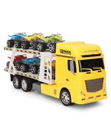 Musical Friction Trailer Truck With Six Cars - Yellow