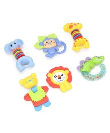 Animal Shape Baby Rattles Set Pack of 6 (Color May Vary)