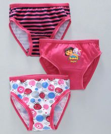 Red Rose Panties Dora & Stripes Print Pack Of 3 - Pink White