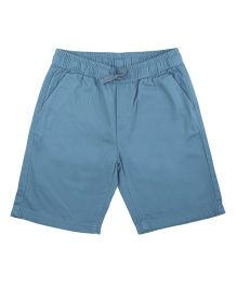 Flying Machine Solid Cotton Shorts - Blue
