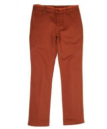 Flying Machine Cotton Trouser - Brown (8 to 9 Years)
