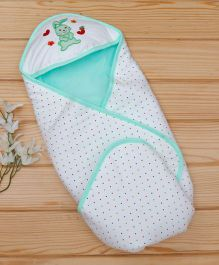 Baby Cotton Hooded Wrapper Bunny Patch - White Aqua Green