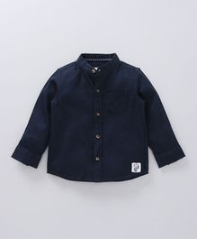 Babyoye Full Sleeves Mandarin Collared Shirt - Navy Blue
