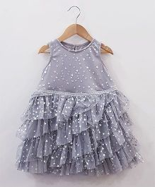 Aww Hunnie Netted Frilly Dress - Grey