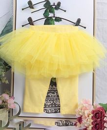 Aww Hunnie Leggings With Attached Netted Skirt - Yellow