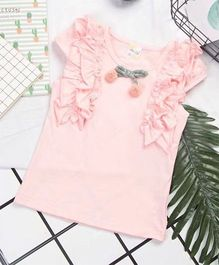 Aww Hunnie Ruffle Design Top - Pink