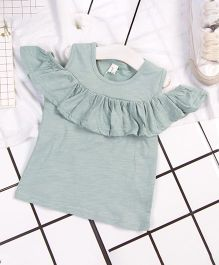 Aww Hunnie Cold Shoulder Frill Top - Green
