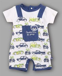 Chocolate Baby Cars Printed Romper - Blue