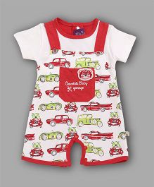 Chocolate Baby Cars Printed Romper - Red
