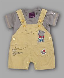 Chocolate Baby Tee & Teddy Applique Dungaree Set - Yellow