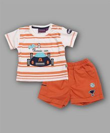 Chocolate Baby Classic Car Printed Tee & Shorts Set - Orange
