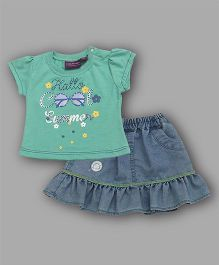 Chocolate Baby Summer Theme Top & Skirt Set - Sea Green