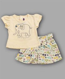 Chocolate Baby Elephant Embroidered Top & Shorts Set - Cream