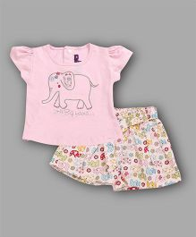 Chocolate Baby Elephant Embroidered Top & Shorts Set - Pink