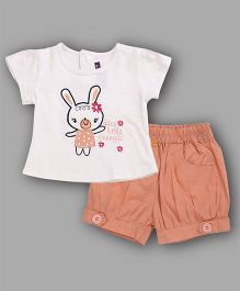 Chocolate Baby Bunny Print Top & Shorts Set - Peach