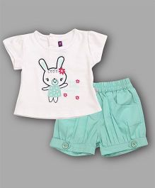 Chocolate Baby Bunny Print Top & Shorts Set - Sea Green