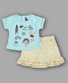Chocolate Baby Travel Theme Top & Skirt Set - Blue