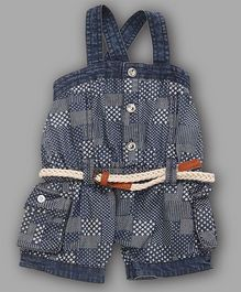 Chocolate Baby Printed Denim Dungaree - Blue