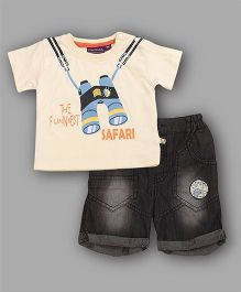 Chocolate Baby The Funniest Safari Print Tee & Shorts Set - Cream
