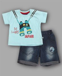 Chocolate Baby The Funniest Safari Print Top & Shorts Set - Turquoise