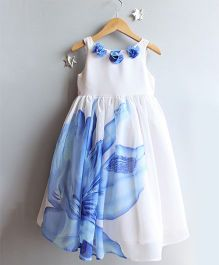 Many Frocks & Big Flower Gown - White & Blue