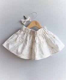 Many Frocks & Design Printed Skirt With Matching Hairclip - White