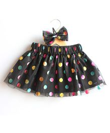 Many Frocks & Polka Dots Skirt With Matching Hairclip - Black