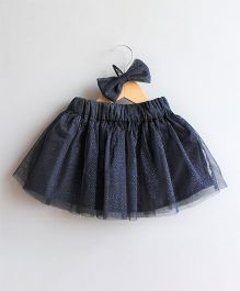 Many Frocks & Shimmery Skirt With Matching Hairclip - Navy Blue