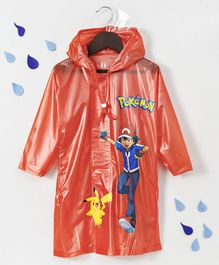 Babyhug Full Sleeves Hooded Raincoat Pokemon Print - Orange