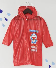 Babyhug Full Sleeves Hooded Raincoat Doraemon Print - Red