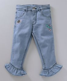 Babyoye Full Length Jeans With Frill - Blue